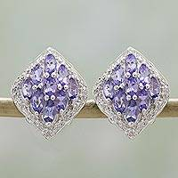 Rhodium plated tanzanite button earrings, 'Regal Touch' - Rhodium Plated Tanzanite Button Earrings from India