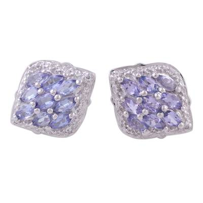 Rhodium Plated Tanzanite Button Earrings from India