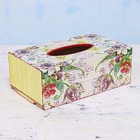 Decoupage wood tissue box cover, 'Floral Letters' - Handcrafted Decoupage Wood Floral Tissue Box from India