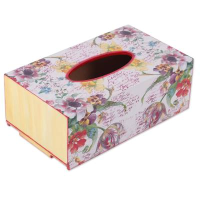 Handcrafted Decoupage Wood Floral Tissue Box from India