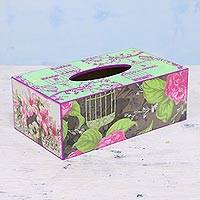 Decoupage wood tissue box cover, 'Pink Symphony' - Wood Tissue Box Cover with Decoupage Motif of Pink Flowers