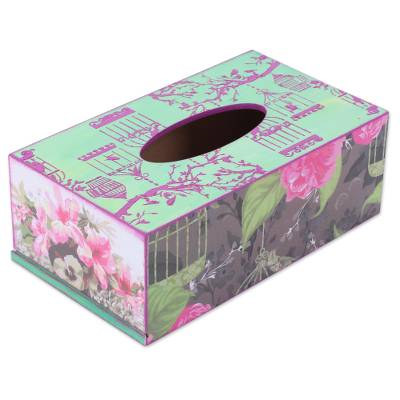 Wood Tissue Box Cover with Decoupage Motif of Pink Flowers