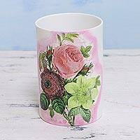 Decoupage porcelain vase, 'Flower Arrangement' - Decoupage Porcelain Floral Vase from India