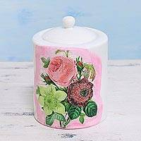 Decoupage porcelain jar, 'Floral Sweetness' - Floral Decoupage White and Pink Porcelain Jar with Lid