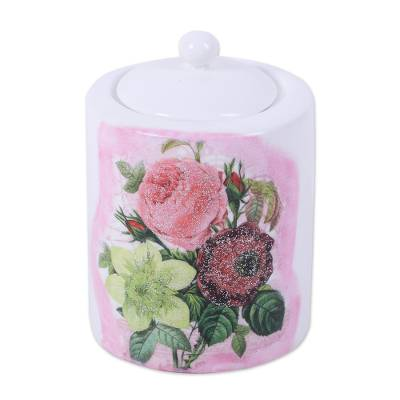 Floral Decoupage White and Pink Porcelain Jar with Lid