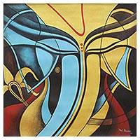 'Divine' - Signed Cubist Painting of Ganesha from India