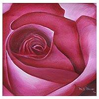 'Pink Rose' - Modern Signed Acrylic on Canvas Painting of an Indian Rose