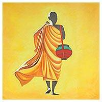 'Peace' - Signed Expressionist Painting of a Buddhist Monk from India