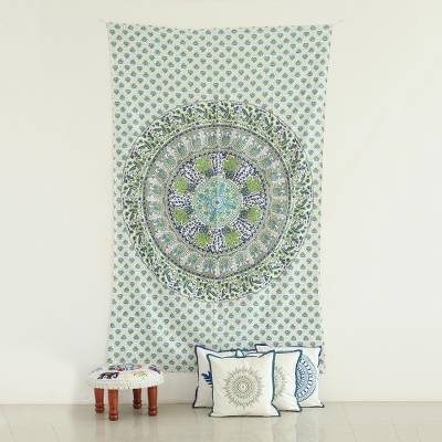 Cotton wall hanging, 'Forest Mandala' - Animal Themed Printed Cotton Wall Hanging from India