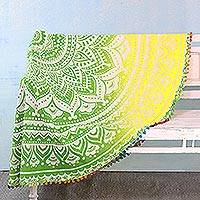 Cotton beach roundie, 'Sun Petals' - Cotton Beach Roundie in Spring Green and Daffodil from India