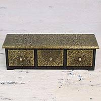 Mango wood decorative box, 'Mughal Tradition' - Handcrafted Mango Wood and Brass Decorative Box