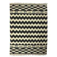 Wool area rug, 'Indian Countryside' (5x7) - Hand Woven 100% Wool Area Rug from India (5x7)