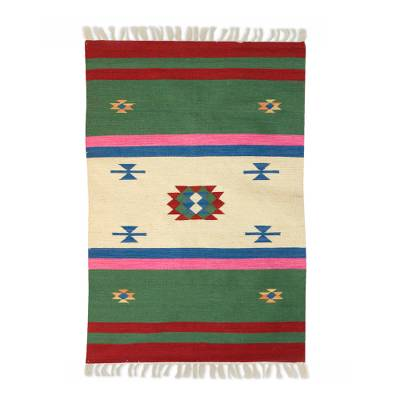 Wool area rug, 'Starry Garden' (4x6) - Cozy Hand Woven Multicolor Striped Wool Rug from India (4x6)