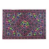 Patchwork wall hanging, 'Floral Concierto' - Recycled Patchwork Floral Wall Hanging from India