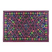 Patchwork wall hanging, 'Floral Ballad' - Recycled Patchwork Floral Wall Hanging from India