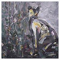 'Cat in My Garden' - India Original Expressionist Painting of a Grey Cat