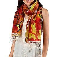 Silk scarf, 'Vallam Kali in Poppy' - Handwoven Multicolored Silk Wrap Scarf from India
