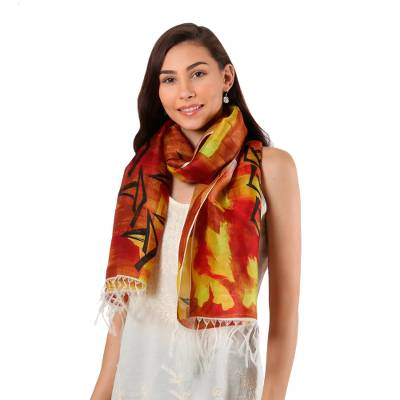 Hand painted silk scarf, 'Vallam Kali in Poppy' - Handwoven Multicolored Silk Wrap Scarf from India