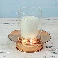 Copper and glass candle holder, 'Home Glow' - Artisan Crafted Copper and Glass Candle Holder from India
