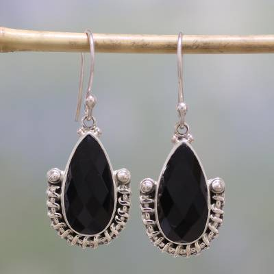 Onyx dangle earrings, 'Magical Night' - Handmade Onyx and Sterling Silver Dangle Earrings from India