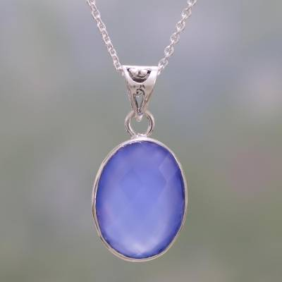 Chalcedony pendant necklace, 'Blue Serenity' - Eight Carat Chalcedony and Sterling Silver Pendant Necklace
