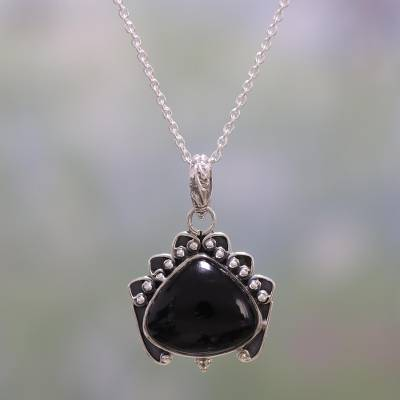 Onyx pendant necklace, 'Mysterious Allure' - Handmade Onyx and Sterling Silver Pendant Necklace