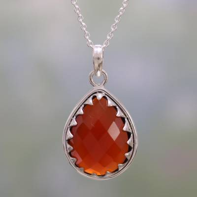 Carnelian pendant necklace, 'Firelight' - Carnelian and Sterling Silver Pendant Necklace from India