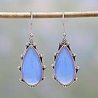 Chalcedony dangle earrings, 'Peaceful Blues' - Sterling Silver and Blue Chalcedony Dangle Earrings