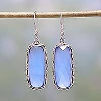 Chalcedony dangle earrings, 'Sea of Blue' - Blue Chalcedony and Sterling Silver Dangle Earrings
