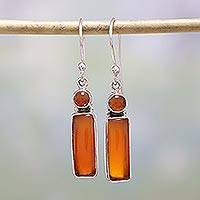 Carnelian dangle earrings, 'Orange Allure' - Carnelian and Sterling Silver Dangle Earrings from India