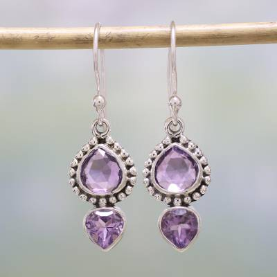 Amethyst dangle earrings, 'Lovely Radiance' - Amethyst and Sterling Silver Dangle Earrings from India