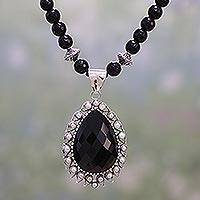 Onyx and cultured pearl pendant necklace,