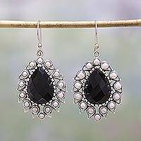 Onyx and cultured pearl dangle earrings, 'Magnificent Midnight' - Black Onyx and Cultured Pearl Dangle Earrings from India