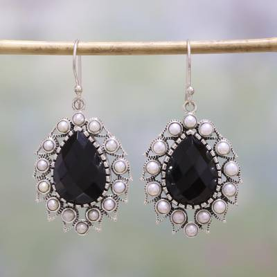 Onyx and cultured pearl dangle earrings, Magnificent Midnight
