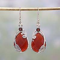 Carnelian and garnet dangle earrings, 'Leafy Radiance' - Carnelian and Garnet Leaf Dangle Earrings from India