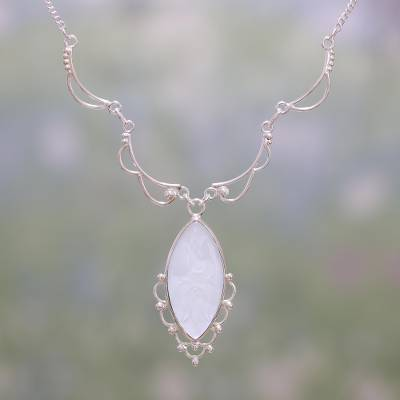 Chalcedony pendant necklace, 'Heavenly Bliss' - Chalcedony and Sterling Silver Pendant Necklace from India