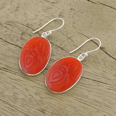 Carnelian dangle earrings, 'Fiery Gleam' - Carnelian and Sterling Silver Dangle Earrings from India