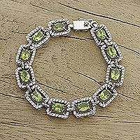 Peridot link bracelet, 'Green Dazzle' - Peridot and Sterling Silver Link Bracelet from India