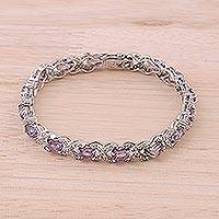 Amethyst tennis-style bracelet, 'Beautiful Sparkle' - Amethyst and 925 Silver Tennis-Style Bracelet from India
