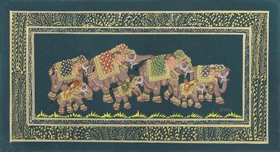Indian Elephant Theme Mughal Miniature Painting on Silk