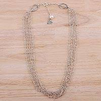Aquamarine and cultured pearl beaded necklace,