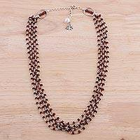 Garnet and cultured pearl beaded necklace, 'Lotus Beauty' - Garnet and Cultured Pearl Beaded Necklace from India