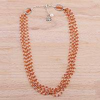 Carnelian and cultured pearl beaded necklace, 'Lotus Beauty' - Carnelian and Cultured Pearl Beaded Necklace from India