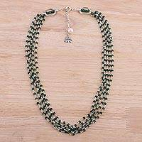 Aventurine and cultured pearl beaded necklace,