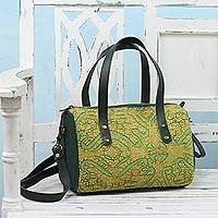 Leather accent cotton handle handbag, 'Avocado Jungle' - Leather Accent Cotton Applique Handle Handbag from India