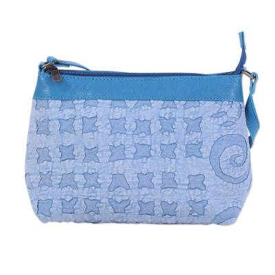 Blue Leather Accent Cotton Applique Sling from India