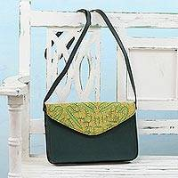 Leather accent cotton shoulder bag, 'Honey Traveler' - Applique Leather Accent Cotton Shoulder Bag in Green