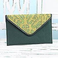 Leather accent cotton tablet case, 'Traveling Style in Pine Green' - Leather Accent Cotton Appliqué Tablet Case in Pine Green