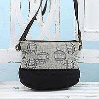 Leather accent cotton sling bag, 'Slate Midnight' - Leather Accent Cotton Applique Sling in Slate from India