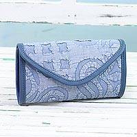 Leather accent cotton clutch, 'Sublime Blue' - Handcrafted Leather Accent Cotton Appliqué Clutch from India